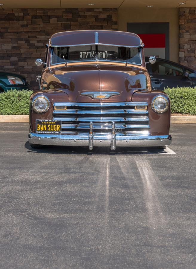 1951 Chevrolet Pick-Up Truck - Brown - Front Portrait. Upland, United States of America - July 29, 2017: 1951 Brown Chevrolet Pick-up Truck appears in stock photo