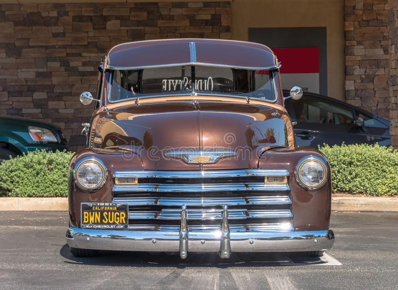 1951 Chevrolet Pick-Up Truck - Saddle Brown - Front. Upland, United States of America - July 29, 2017: 1951 Brown Chevrolet Pick-up Truck appears in spontaneous royalty free stock photo