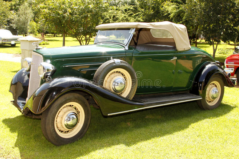 1934 Chevrolet Roadster. RUSTENBURG, SOUTH AFRICA – FEBRUARY 15: Green 1934 Chevrolet Roadster Passenger Side View in Private Collection Philip Classic royalty free stock photo