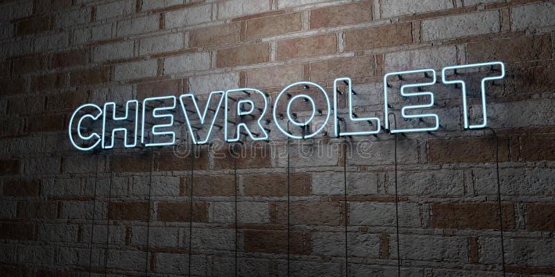 CHEVROLET - Señal de neón que brilla intensamente en la pared de la cantería - 3D rindió el ejemplo común libre de los derechos stock de ilustración