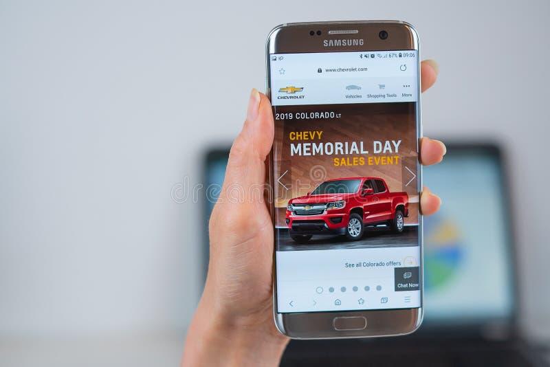 Chevrolet strona internetowa otwieraj?ca na wisz?cej ozdobie obrazy royalty free