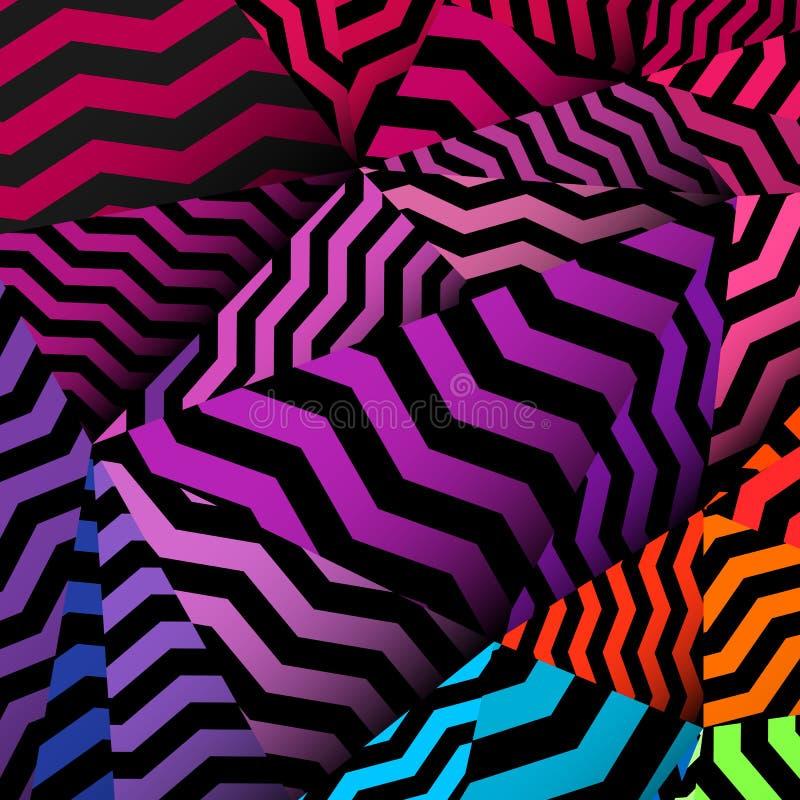 Chevron background, rippled rainbow and black pattern. Vector stock illustration
