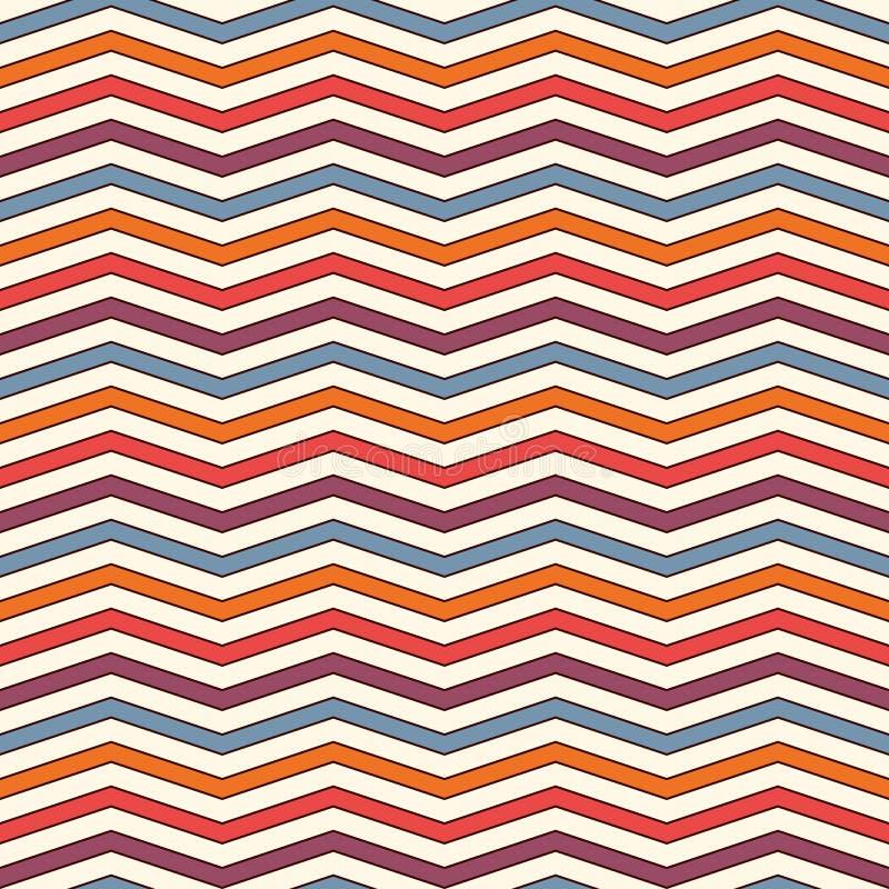 Chevron barre le fond Modèle sans couture lumineux avec l'ornement géométrique classique Traits horizontaux papier peint de zigza illustration stock