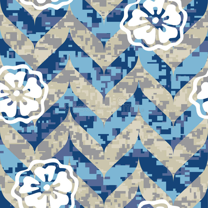 Chevron Camouflage With Flowers Stock Image