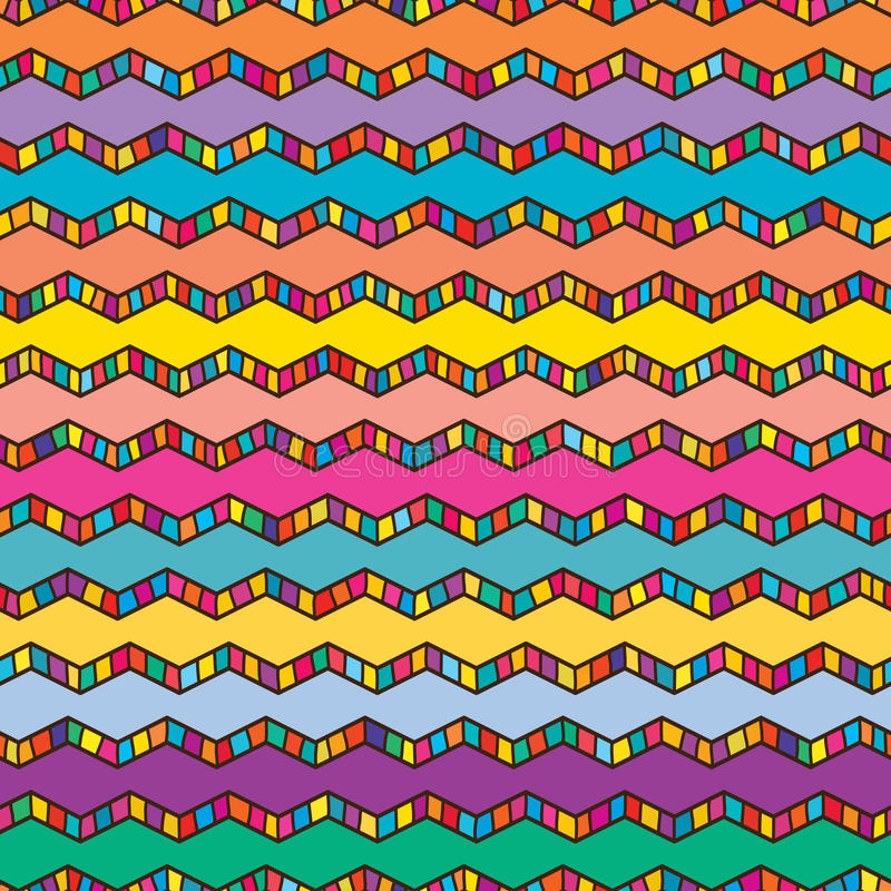 Chevron colorful draw line pattern. This illustration is drawing Chevron line naive with design colorful fill and striped in seamless pattern stock illustration