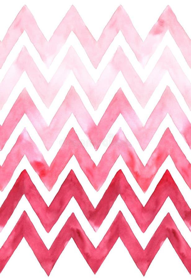 Chevron con la gradazione di colore rosa su fondo bianco Modello senza cuciture dell'acquerello illustrazione di stock
