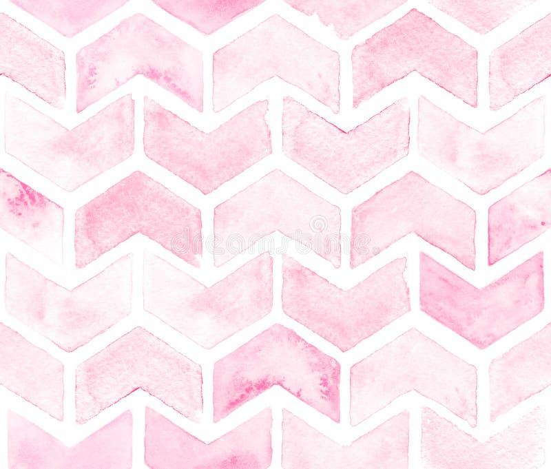 Chevron de couleur rose-clair sur le fond blanc Modèle sans couture d'aquarelle pour le tissu illustration libre de droits