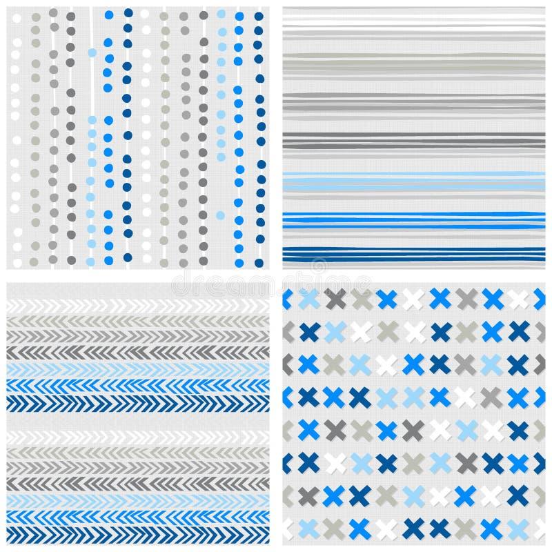 Chevron de rayures de points et ensemble sans couture bleu de modèle de croix illustration libre de droits
