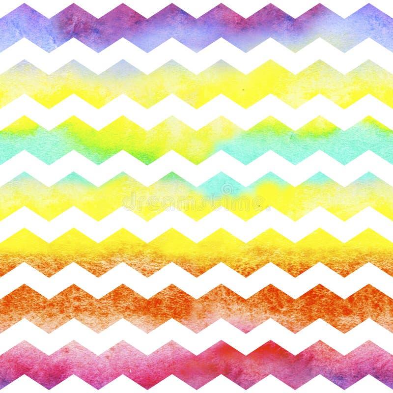 Chevron del zigzag coloreado del watercolour alinea en el fondo blanco Modelo inconsútil de la acuarela stock de ilustración