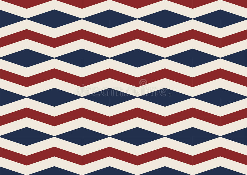 Chevron diamond old glory red, white and blue seamless patter stock illustration