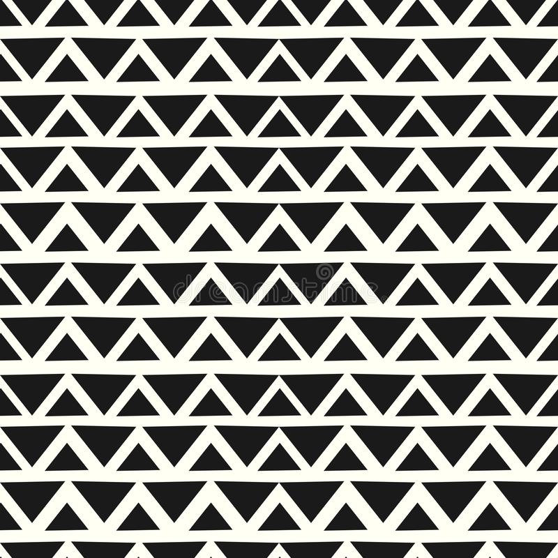 Chevron geometric seamless pattern hand drawn black and white colors background ready for print vector illustration