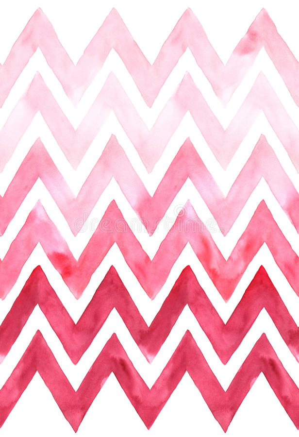 Chevron with gradation of pink color on white background. Watercolor seamless pattern stock illustration