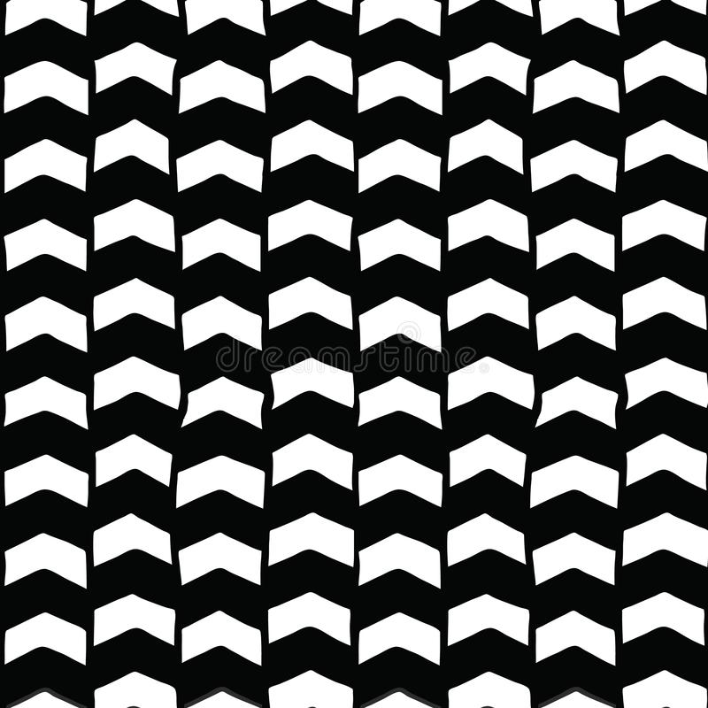 Chevron hand drawn seamless vector background black and white. Monochrome arrows abstract pattern. Repeating backdrop vector illustration