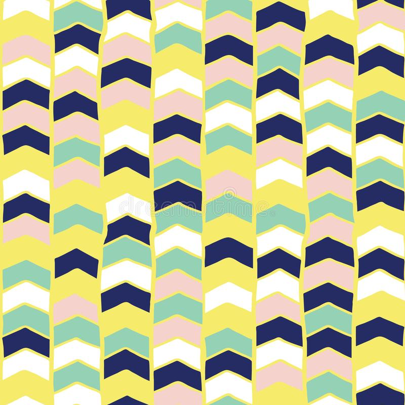 Chevron hand drawn seamless vector pattern. Arrows teal green, yellow, blue, pink, white abstract background. Children vector illustration