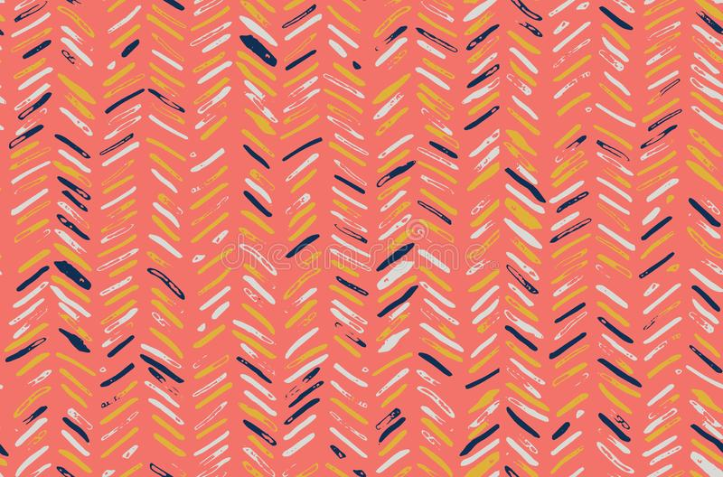 Chevron Herringbone Pattern in Coral Pink, Navy Blue, Mustard Yellow and White royalty free stock images