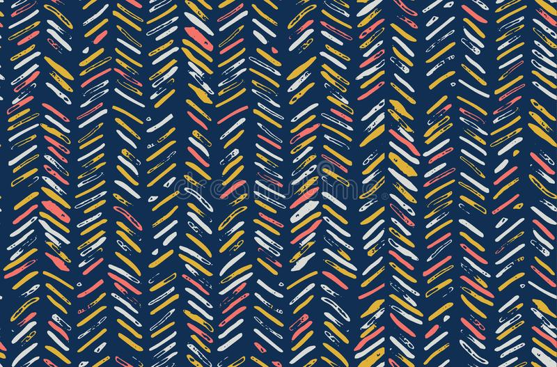 Chevron Herringbone Pattern in Coral Pink, Navy Blue, Mustard Yellow and White stock photo