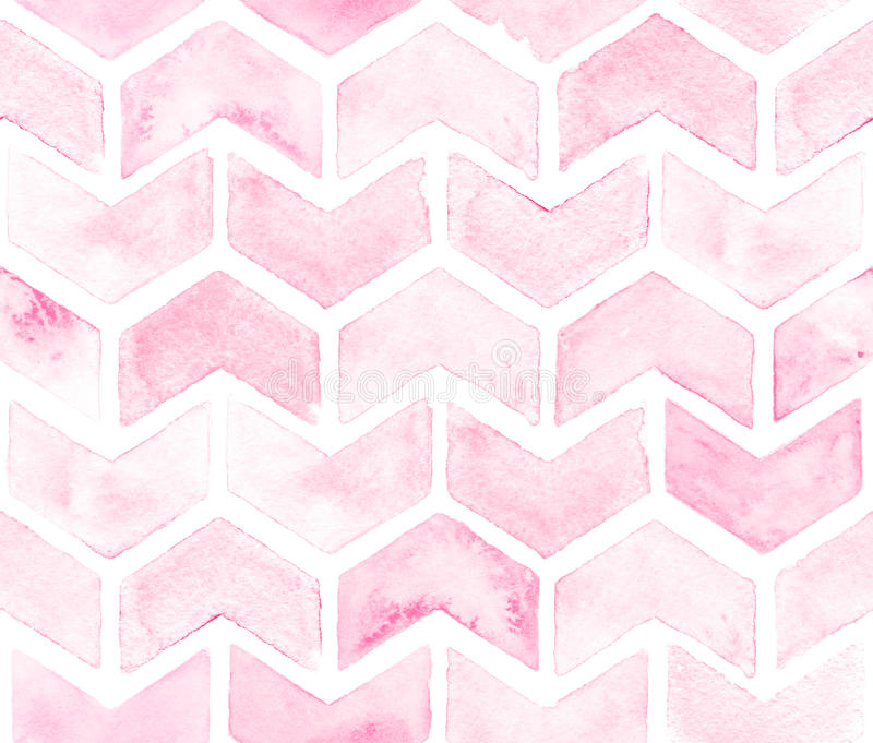 Chevron of light pink color on white background. Watercolor seamless pattern for fabric royalty free illustration