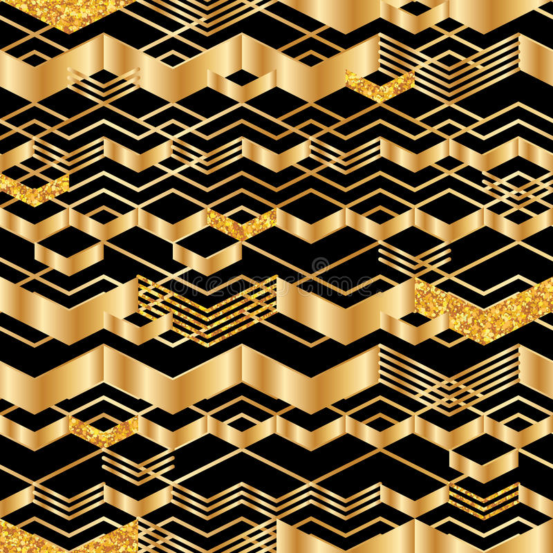 Chevron line golden glitter seamless pattern. This illustration is Chevron line golden glitter in black and seamless pattern stock illustration