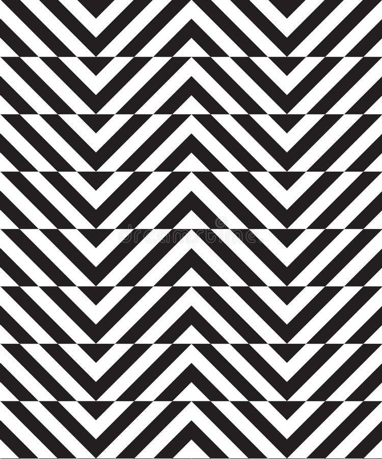 Chevron mince alternatif noir et blanc avec la coupe horizontale illustration stock