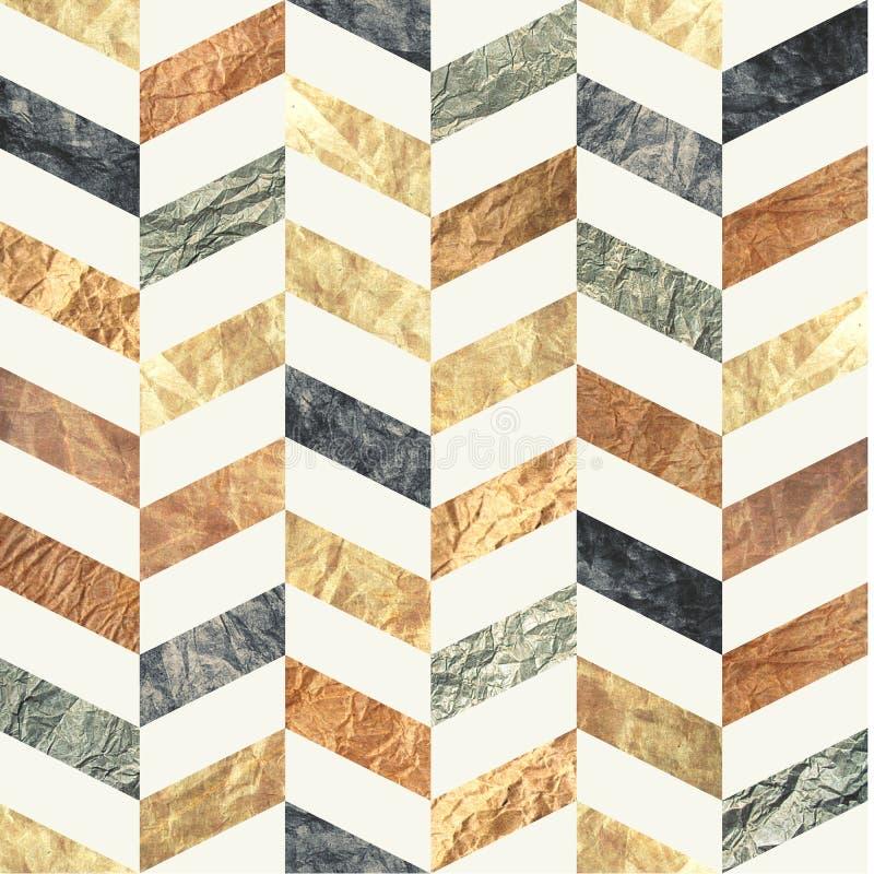 Chevron naadloos die patroon van bruine, beige, grijze en blauwe oude verontruste document texturen wordt gemaakt Herhaalde tilea royalty-vrije illustratie