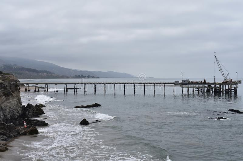 Chevron Oil Pier Carpinteria California, 1. A private pier to get equipment and personal back-and-forth to the off shore oil rigs, it is off limits to public stock photos