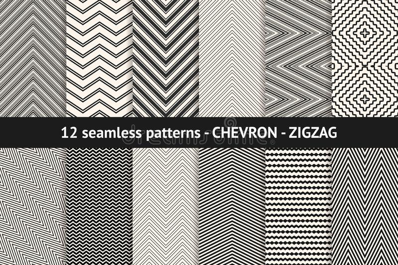 Chevron pattern collection. Vector geometric black and white seamless textures royalty free illustration