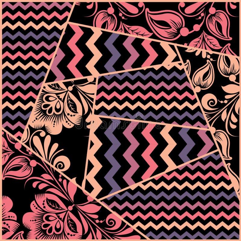 Chevron, russian floral seamless pattern vector stock illustration