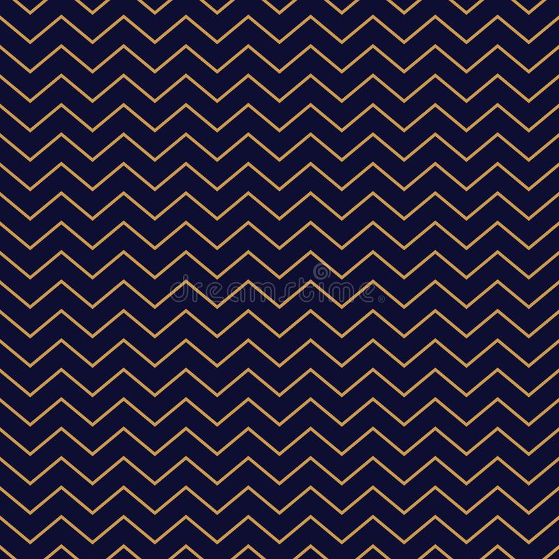 Chevron seamless pattern background gold thin stripes on blue. stock illustration