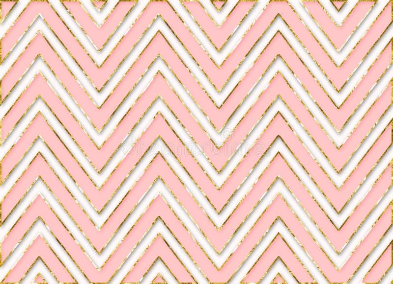 Download Chevron Stripes Background Pattern Pink Gold Stock Illustration