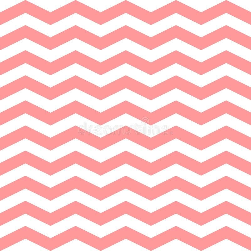 Chevron-Zickzack-nahtloses Muster Rosa und weißes Farbmuster des Vektors Nahtlose Beschaffenheit für girly Design lizenzfreie abbildung