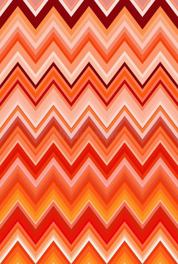 Chevron-Zickzack rot, orange Hintergrund der Flammenfeuermuster-abstrakten Kunst, Bittersüße, Kantalupe, Karotte, Koralle, Pfirsi lizenzfreie abbildung
