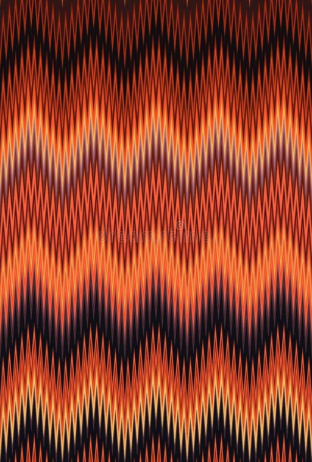 Chevron-Zickzackwelle rot, orange Hintergrund der Flammenfeuermuster-abstrakten Kunst, Karotte, Koralle, Pfirsich, Lachs, Tangeri lizenzfreie abbildung
