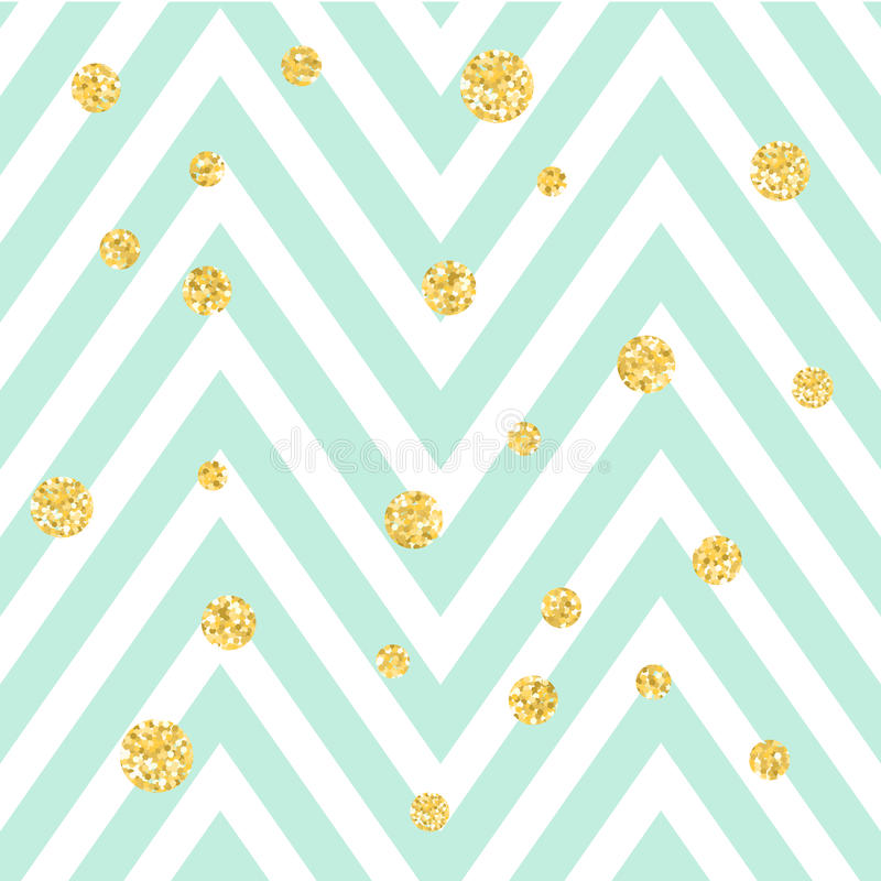 Chevron zigzag blue and white seamless pattern with golden shimmer polka dots. Vector geometric stripe, glitter spots. Chevron zigzag blue and white seamless vector illustration