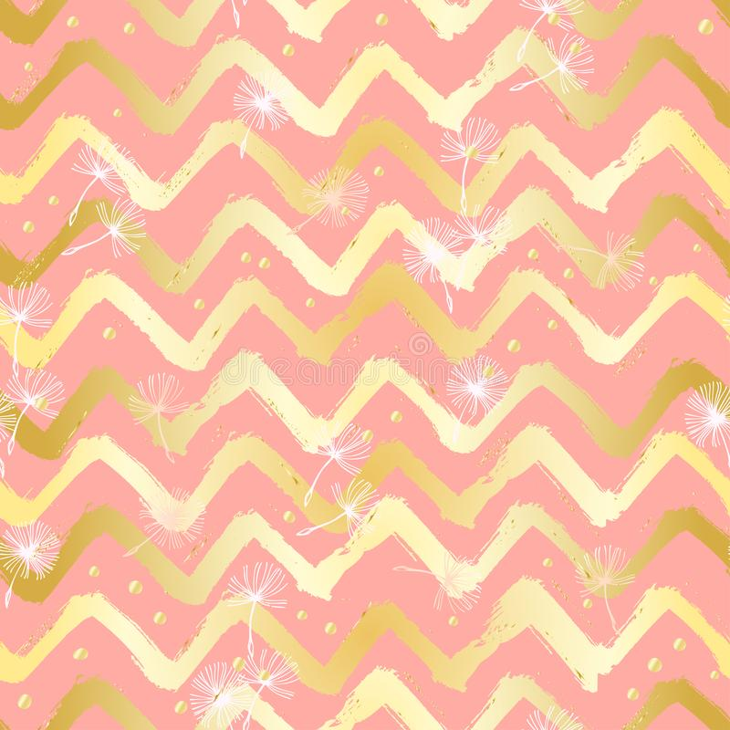Chevron Zigzag Paint Brush Strokes Seamless pattern. Abstract Grunge pink and yellow background.  vector illustration