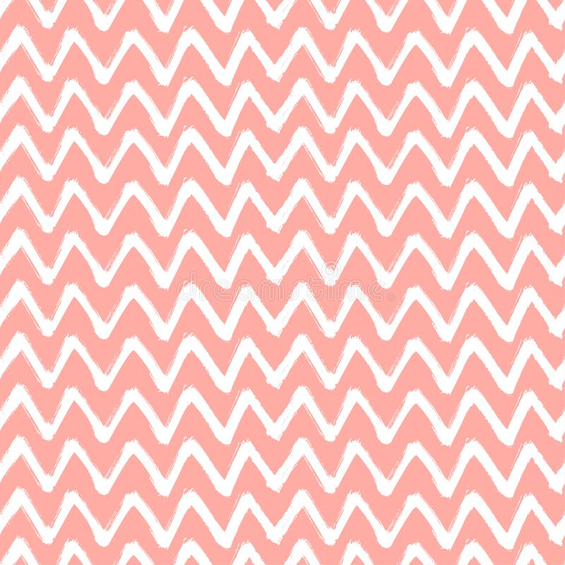 Chevron Zigzag Paint Brush Strokes Seamless pattern. Vector Abstract Grunge pink and white background stock illustration