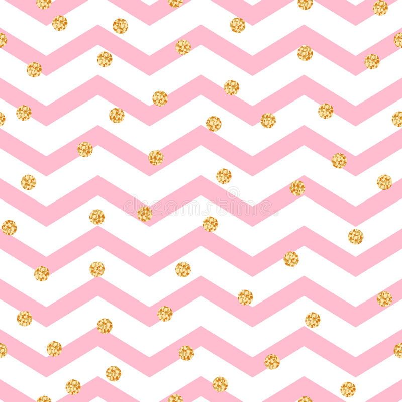 Chevron zigzag pink and white seamless pattern. With golden shimmer polka dots. Vector geometric monochrome stripe with glitter spots