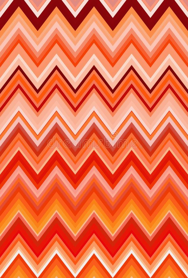 Chevron zigzag red, orange flame fire pattern abstract art background, bittersweet, cantaloupe, carrot, coral, peach, salmon, tang. Chevron zigzag red, orange royalty free illustration