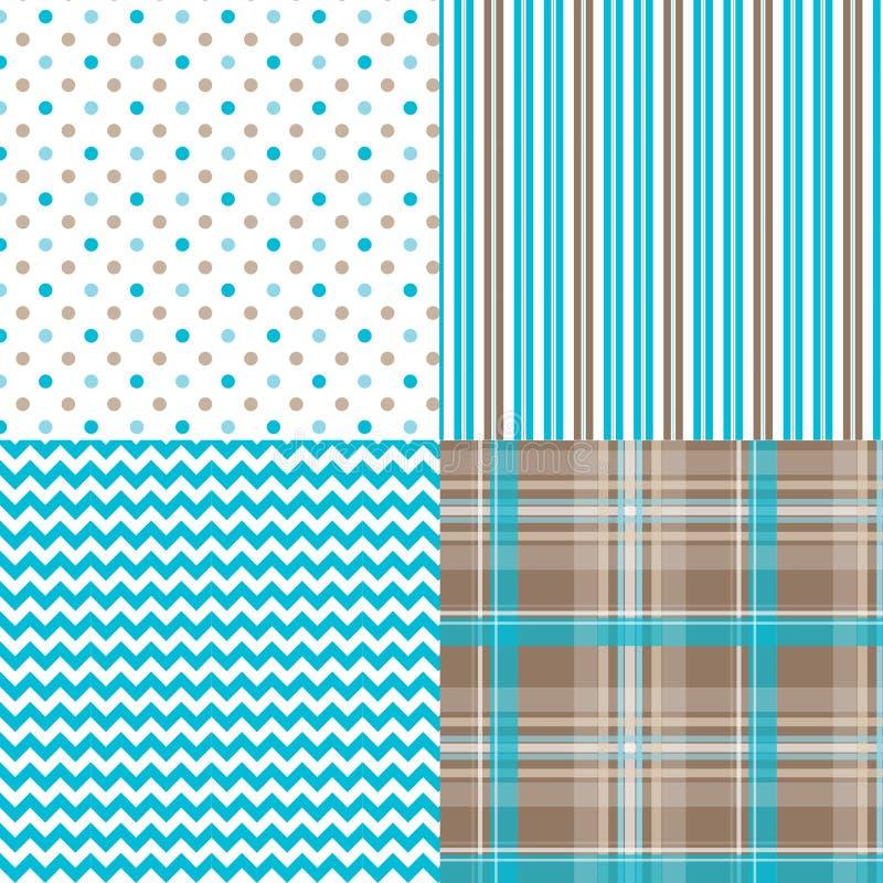 Chevronpatroon Dots Stripes Plaid stock illustratie