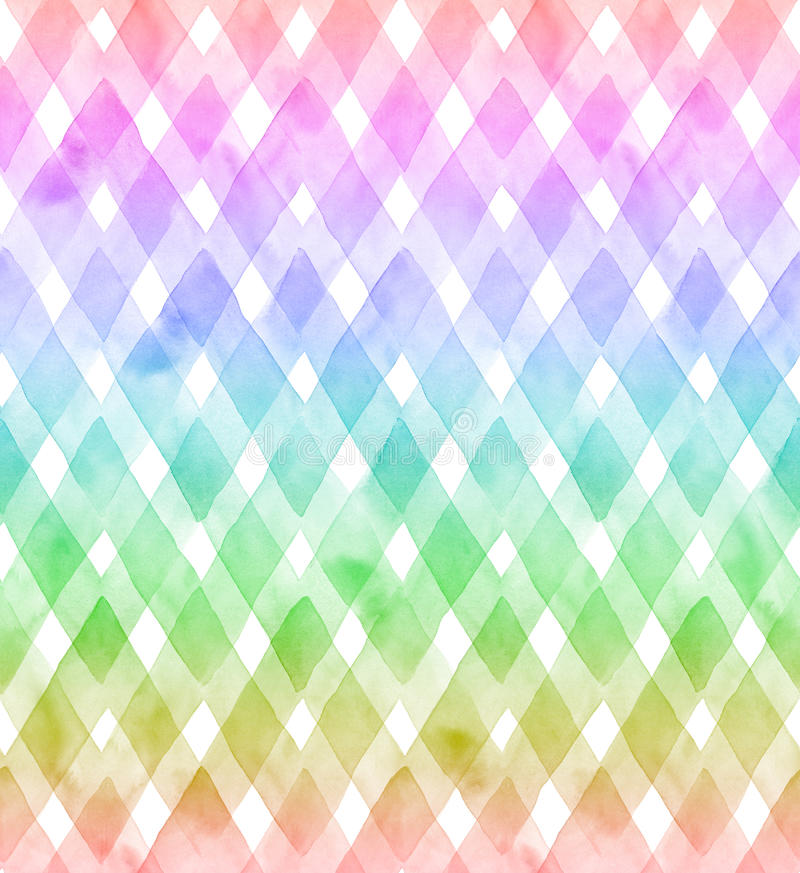 Chevrons of rainbow colors on white background. Watercolor seamless pattern for fabric stock illustration