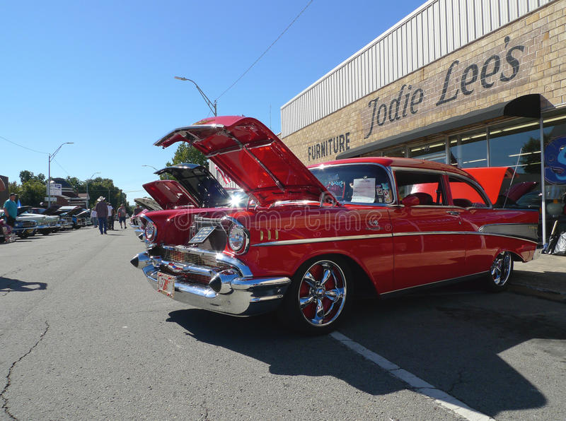 1957 Chevy Belair at car show stock image