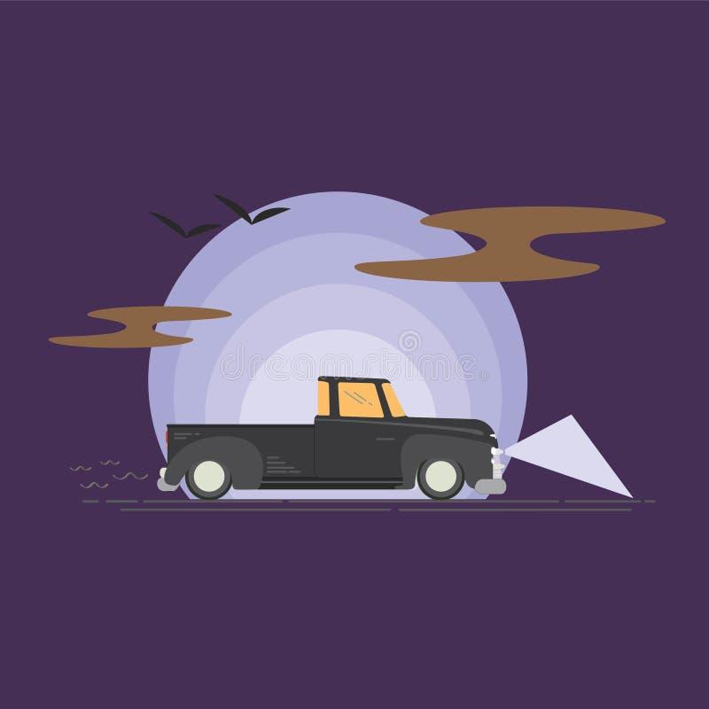 Chevy Chevro på vägen som returnerar royaltyfri illustrationer