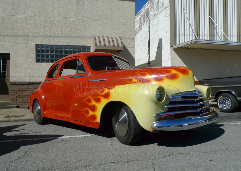 Chevy Fleetmaster, red and yellow flames, car show royalty free stock photo