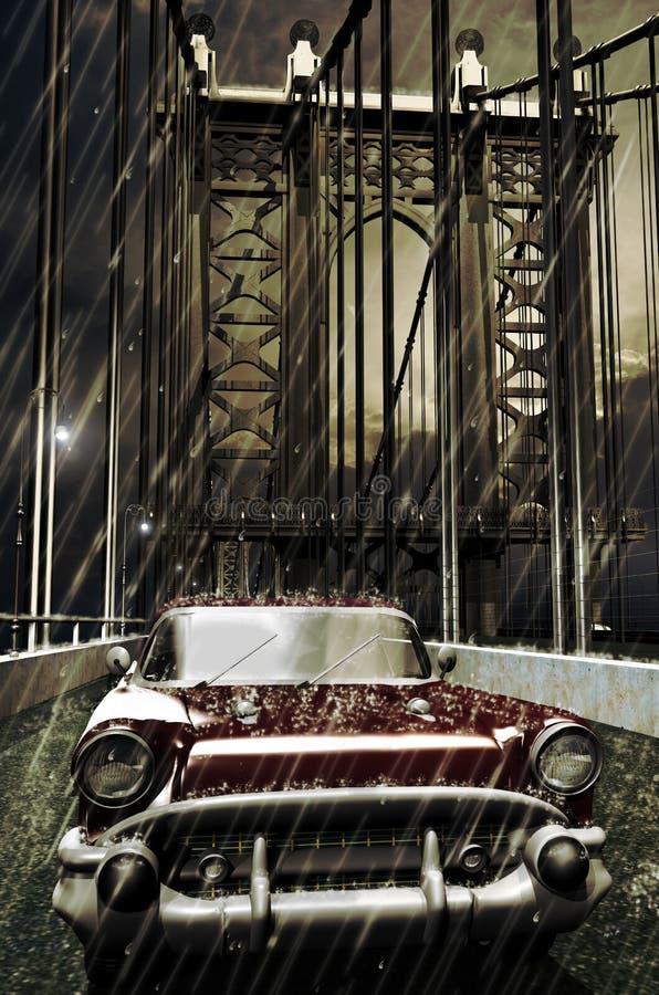 Chevy pod deszczem ilustracja wektor