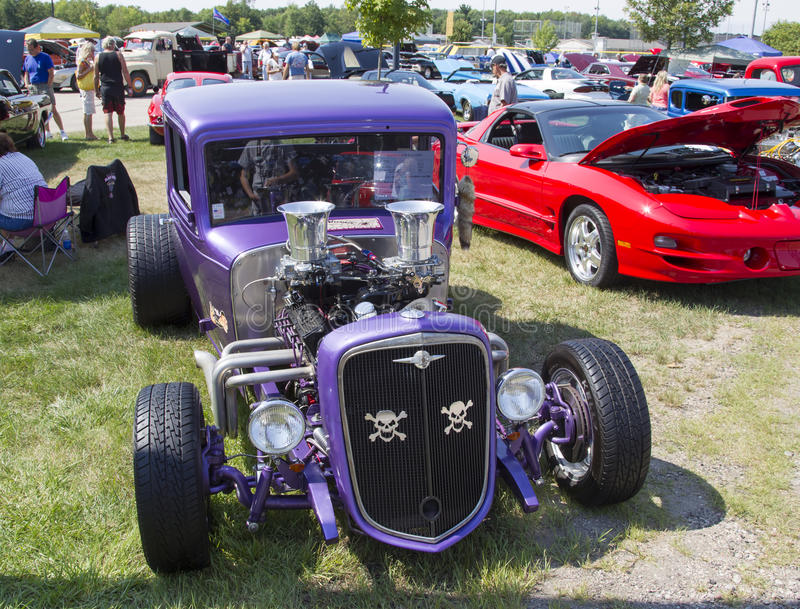 1932 Chevy Roadster Purple Front View. WAUPACA, WI - AUGUST 24: Front of purple 1932 Chevy Roadster Car at Waupaca Rod and Classic Car Show August 24, 2013 in stock photo