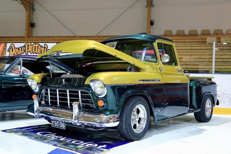 Chevy Stepside 3100 indicado em uma mostra fotografia de stock royalty free