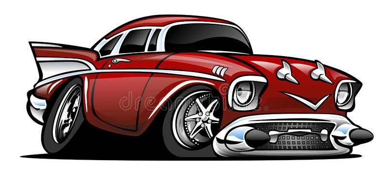 Classic American Hot Rod Cartoon Illustration royalty free stock photos