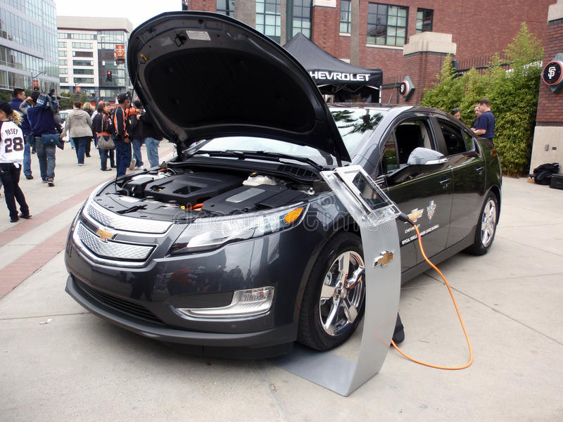 Chevy Volt on display at ballpark with hood open royalty free stock photo