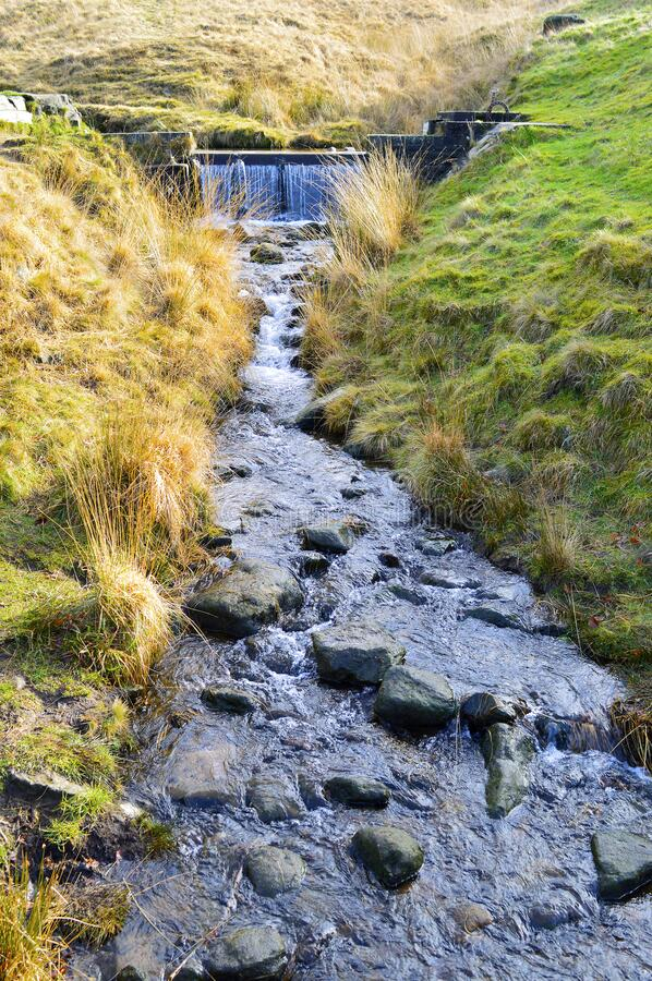 Chew brook. Leading to Dovestone reservoir in the Peak District National Park royalty free stock photo
