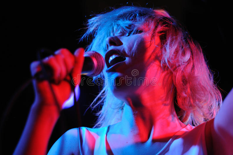 Chew Lips (dance pop band) performs at Apolo stock photo