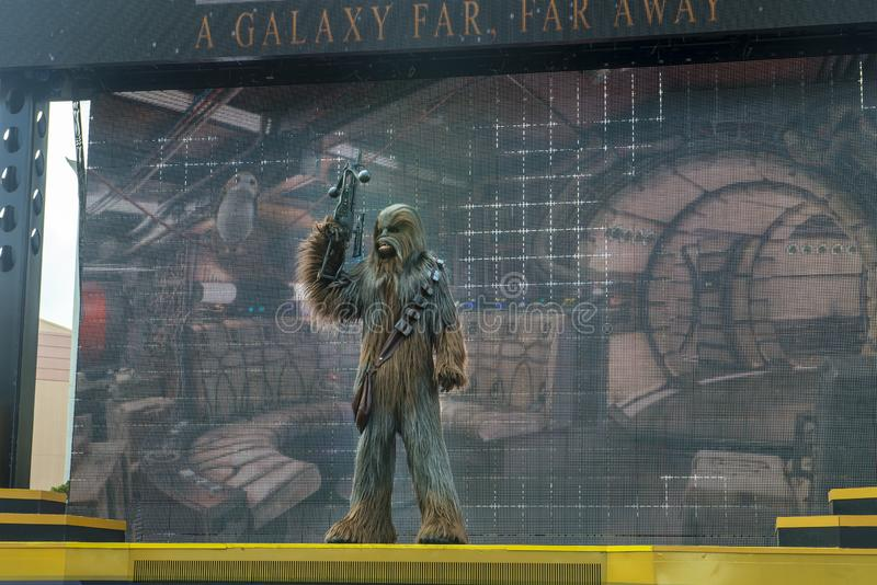 Chewbacca, Star Wars, Disney World, curso foto de stock